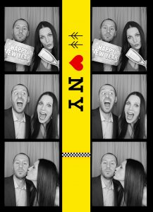 Black and white photo booth strip